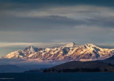 Die Cordillera Real im Abendlicht.