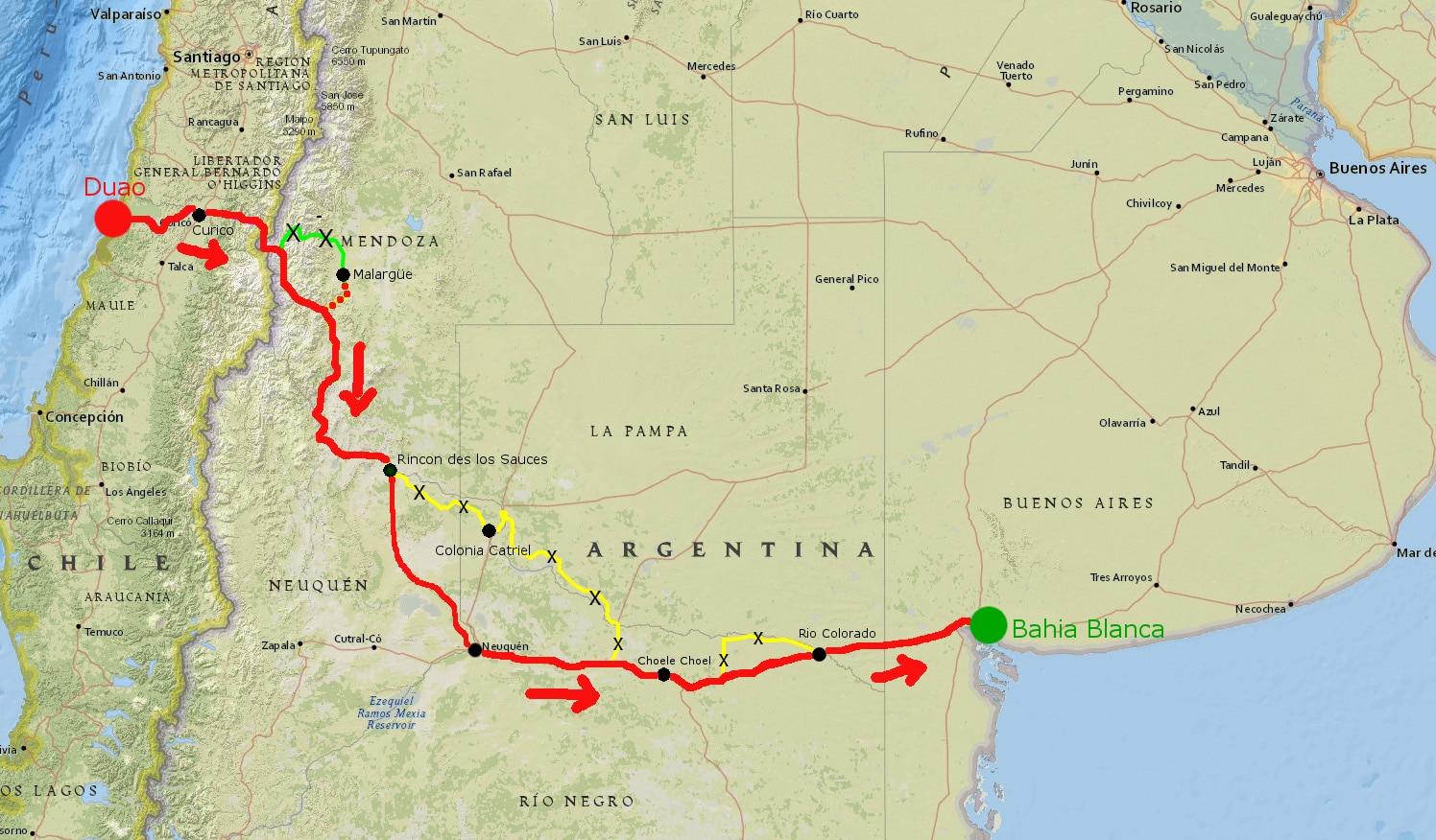Unsere Route (rot markiert) führte uns über rund 1500 Kilometer vom Pazifik (Duao) zum Atlantik (Bahia Blanca).