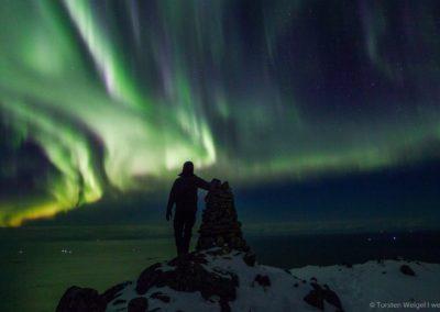 Nordlicht-Selfie auf den Lofoten (Norwegen).