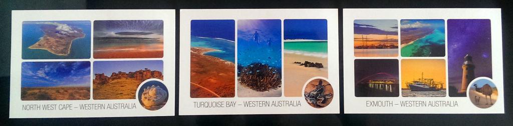 Diese drei Karten wurden in Exmouth gekauft und in Melbourne geschrieben. Nun machen sie sich auf den Weg nach Deutschland.