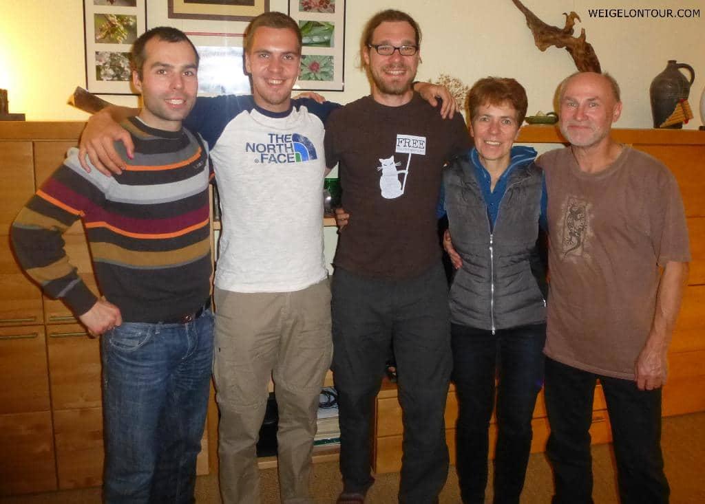 Willkommensessen mit allen Südkreis-Reisenden (Martin, Torsten, Gerald, Sigrun und Peter /von links)